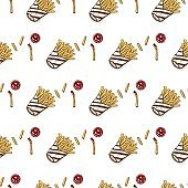 pattern French fries hand drawing graphic background
