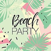Beach Party Poster with Palm Tree - Vector Illustration