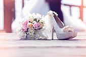 Wedding close up of white bridal bouquet