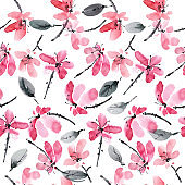 Red flowers pattern