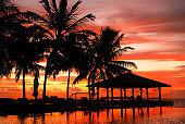 Beautiful sunset at the Maldives