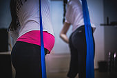 Exercise for pregnant women at the gym with fitness instructor