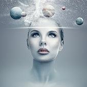 Futuristic woman portrait