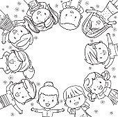 kids frame line art