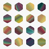 Colorful Hexagon style Icon Collection