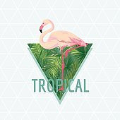 Tropical Flamingo Bird Background. Summer Design. Vector. T-shirt Fashion Graphic. Exotic.
