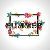 Summer background with typography design with leaves and flowers.