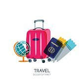 Globe, luggage suitcase, passport and airplane tickets. Vector isolated illustration.