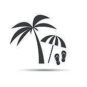 Holiday icon with palm, beach umbrella and flip flop isolated on white background