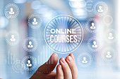 Online course in businessman hand.