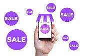 Sale in online store.