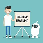 Machine learning conceptual illustration. Young character teaching small white robot / flat editable vector illustration, clip art