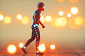 Futuristic cyborg walking in the street