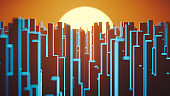 Conceptual city skyline at sunset