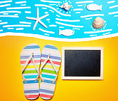 Summertime flip-flops and copy space board