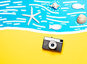 beach and vintage travel camera