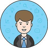 Avatar of business consultant. Vector outline illustration of a smiling manager and business icons on round background. Avatar of leader in color filled outline style for web and mobile design.