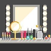 Vector flat Makeup worker's workplace. Mirror, decorative cosmet