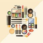 Vector flat cosmetics illustration. Beauty fashion products. Dec