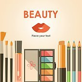 Vector flat cosmetics bacground. Beauty fashion products. Decora