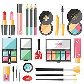 Vector flat cosmetics set. Beauty fashion products. Decorative c
