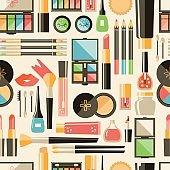 Vector flat cosmetics  seamless pattern. Beauty fashion product