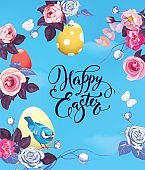 Happy Easter greeting card with colorful eggs, half-colored rose flowers and pretty little bird against blue spring sky on background. Vector illustration for party invitation, banner, poster, flyer.