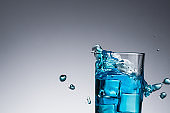 water with splash and drops