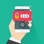 fingerprint button and password notification vector on mobile phone, concept of security