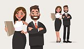 Business people. Couple of office workers. Vector illustration in cartoon style