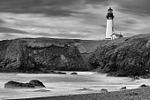Picturesque lighthouse against dramatic sky