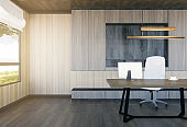 Modern and minimal interior of boss office