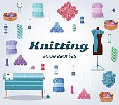 Knitting accessories or craft icons isolated set with yarn balls of wool, kntting and handmade hobby tools vector illustration