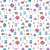 Knitting seamless colorful vector pattern with craft icons of isolated woolen yarn balls and handmade hobby accessories