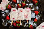Strawberry Popsicles with Chia Seeds and Coconut Milk