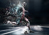 abstract soccer player