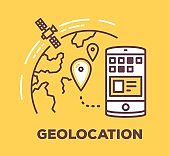 Vector business illustration of phone and planet with geo pin on yellow background.