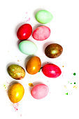 Colorful easter eggs  isolated on white background close up