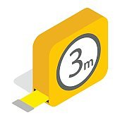 Tape measure roulette icon, isometric 3d style