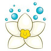 White lotus flower icon, cartoon style