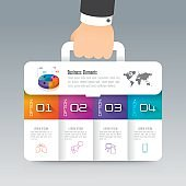 Business suitcase infographic design vector and icons with 4 options.
