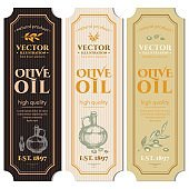 Olive oil banner. Labels for olive oils retro vintage vector
