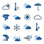 Weather Forecast Blue Icon Set
