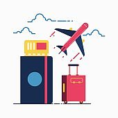 Travel concept. Bags, passport, tickets and airplane, flat , vector .