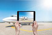 Digital tablet & modern private airplane