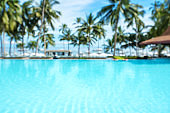 Tropical swimming pool blurred abstract background