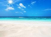 Sunny sandy beach background