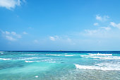 Tropical ocean and blue sky background