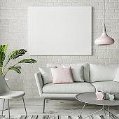 Mock up poster, hipster living room design