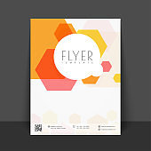 Business Flyer, Template or Brochure presentation with abstract geometric design.